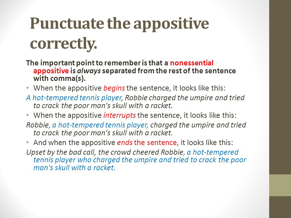 Punctuate the appositive correctly.