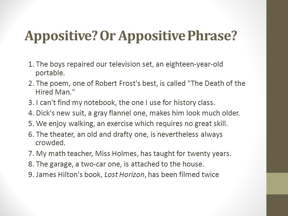Appositive Or Appositive Phrase