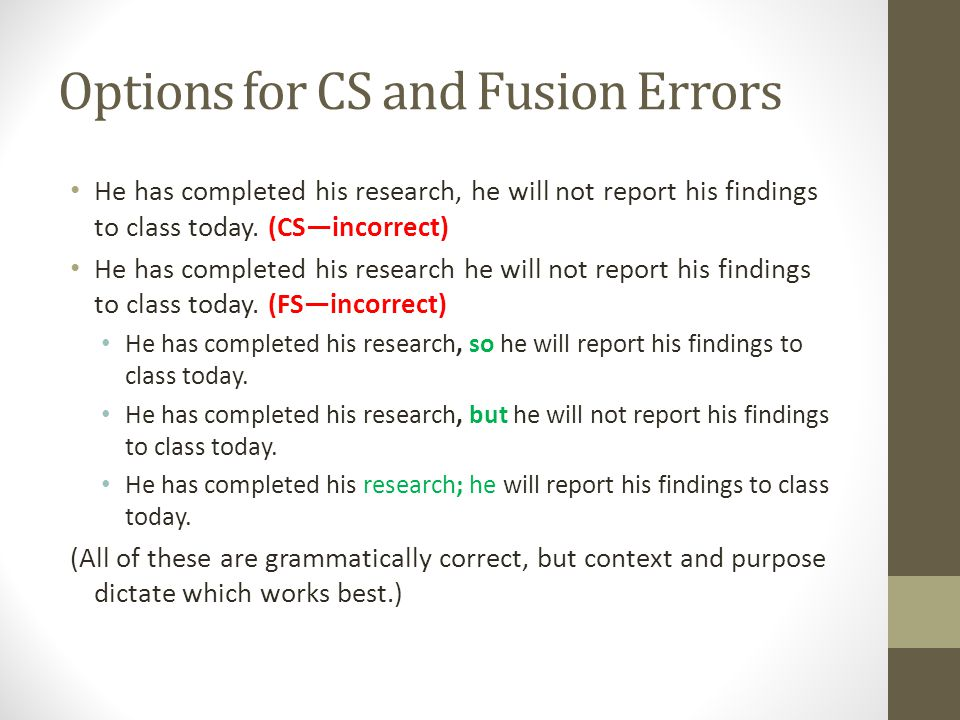 Options for CS and Fusion Errors