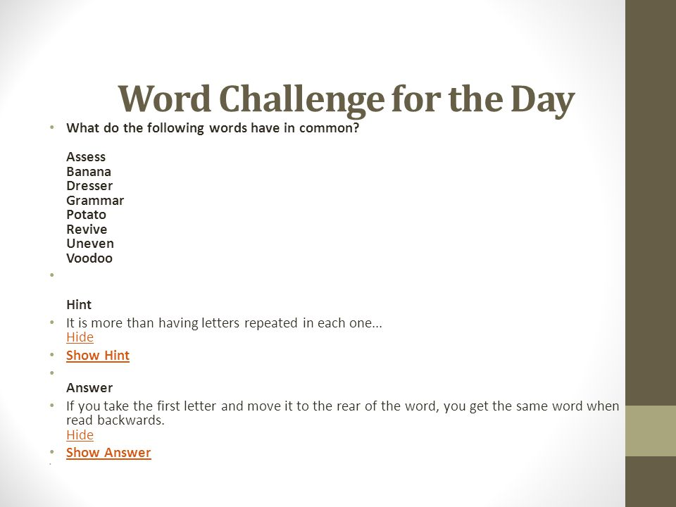 Word Challenge for the Day
