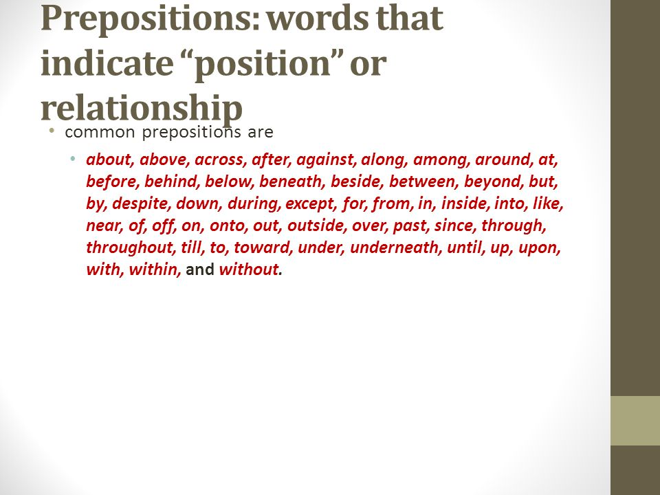 Prepositions: words that indicate position or relationship