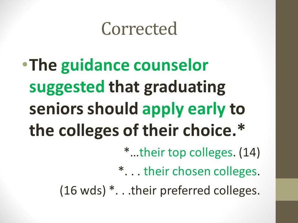 Corrected The guidance counselor suggested that graduating seniors should apply early to the colleges of their choice.*