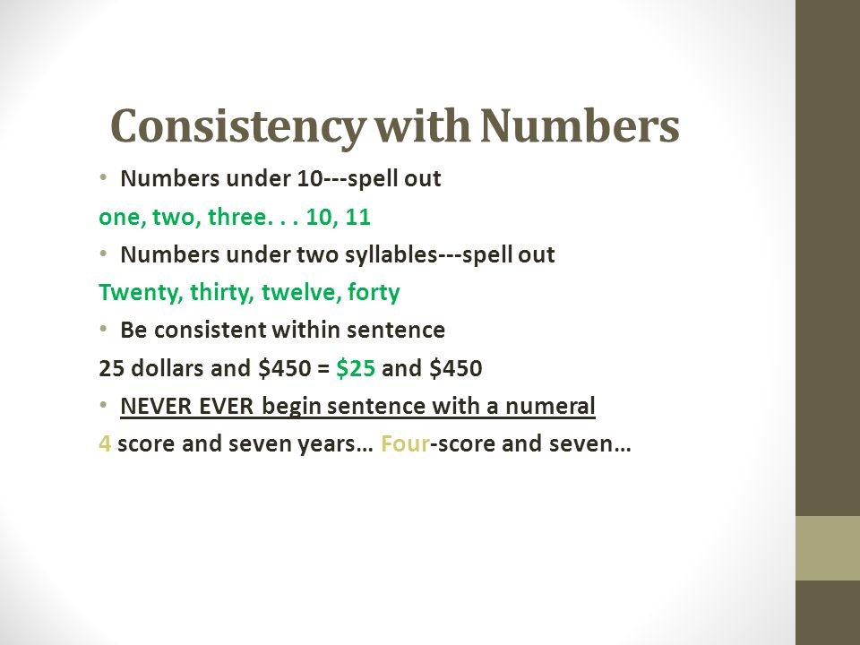 Consistency with Numbers