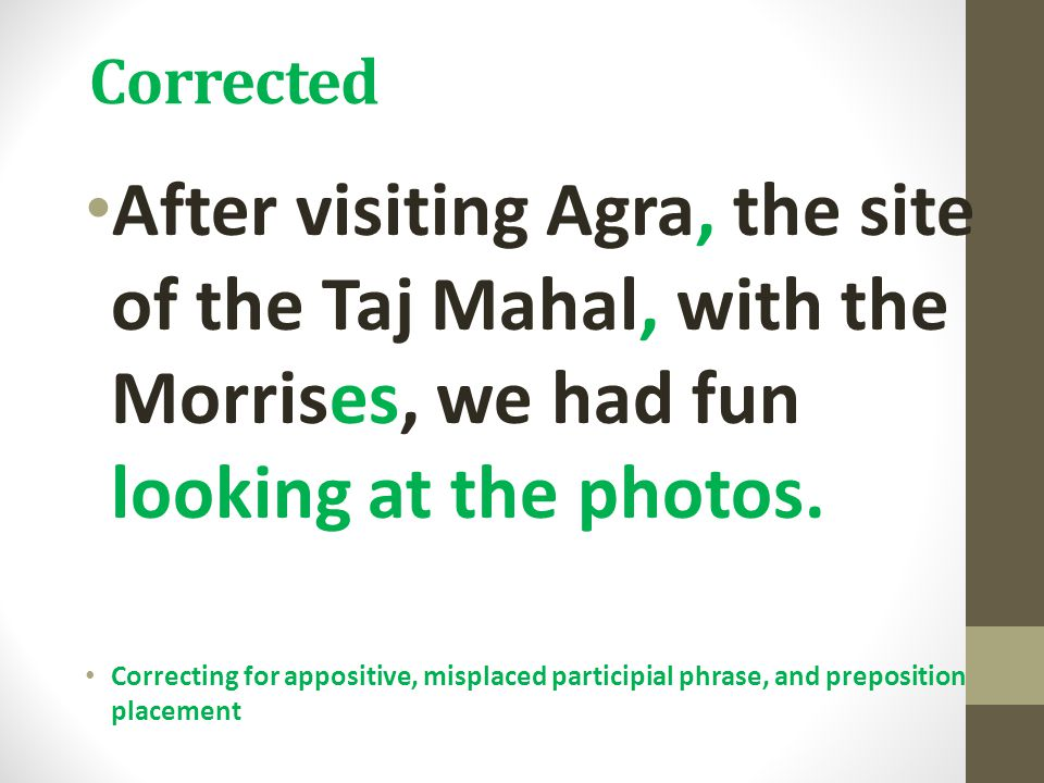 Corrected After visiting Agra, the site of the Taj Mahal, with the Morrises, we had fun looking at the photos.