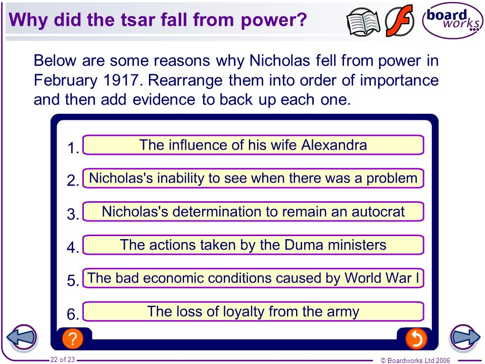 Why did the tsar fall from power