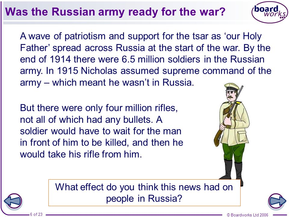 Was the Russian army ready for the war