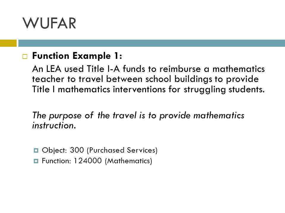 WUFAR Function Example 1: