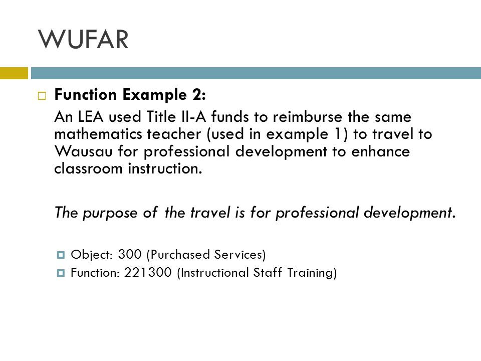 WUFAR Function Example 2: