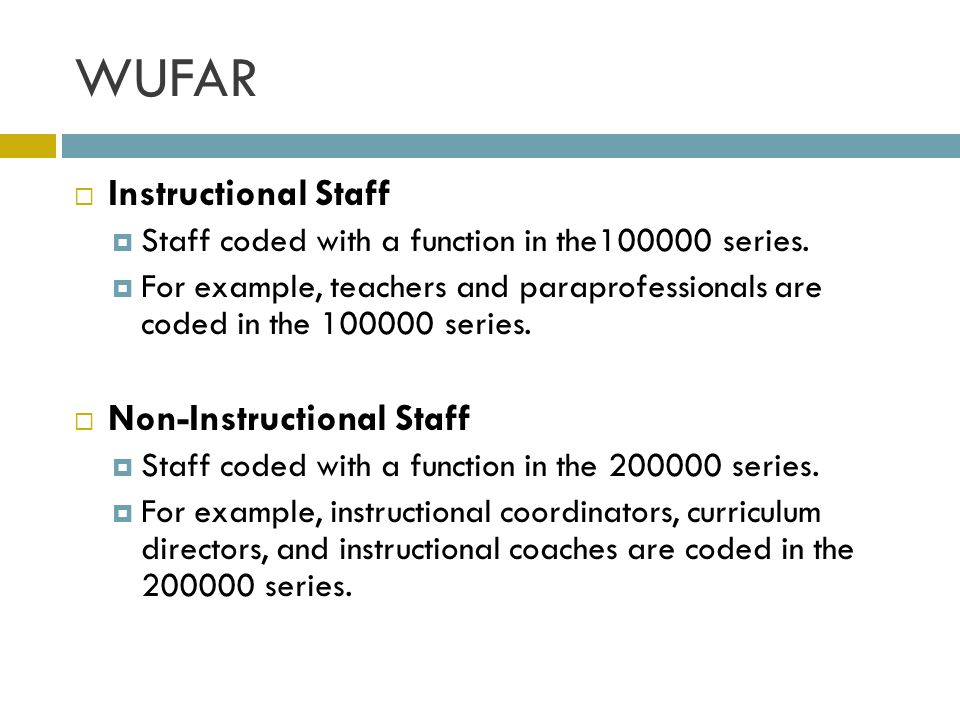 WUFAR Instructional Staff Non-Instructional Staff