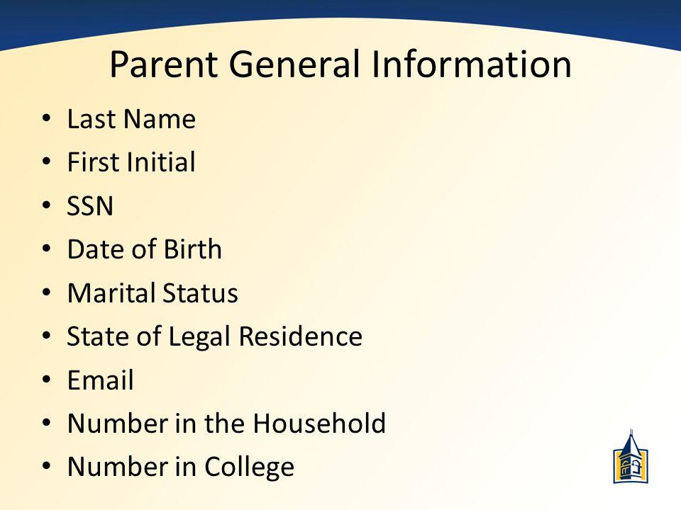 Parent General Information