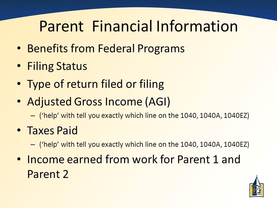 Parent Financial Information