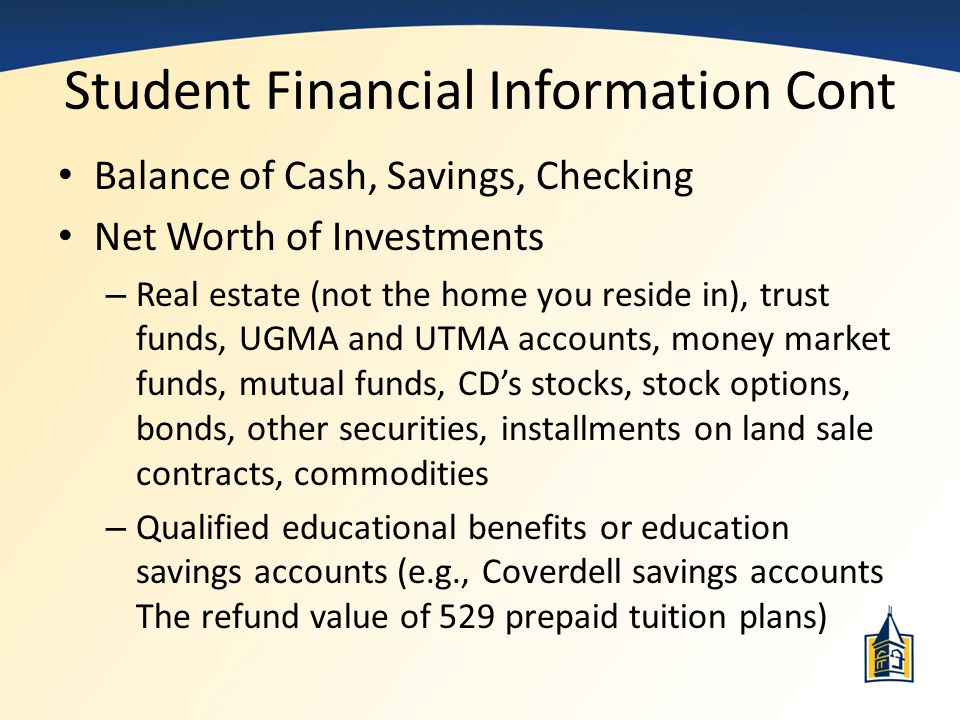 Student Financial Information Cont