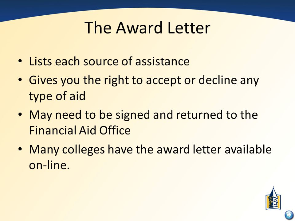 The Award Letter Lists each source of assistance