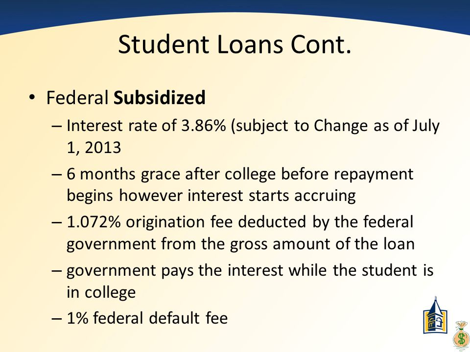 Student Loans Cont. Federal Subsidized