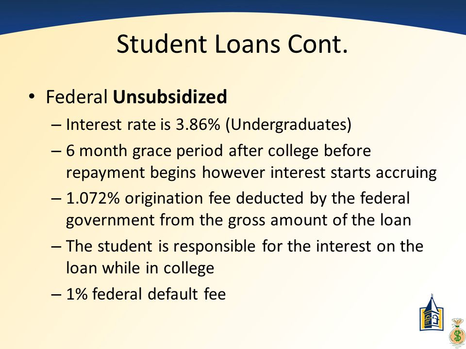 Student Loans Cont. Federal Unsubsidized