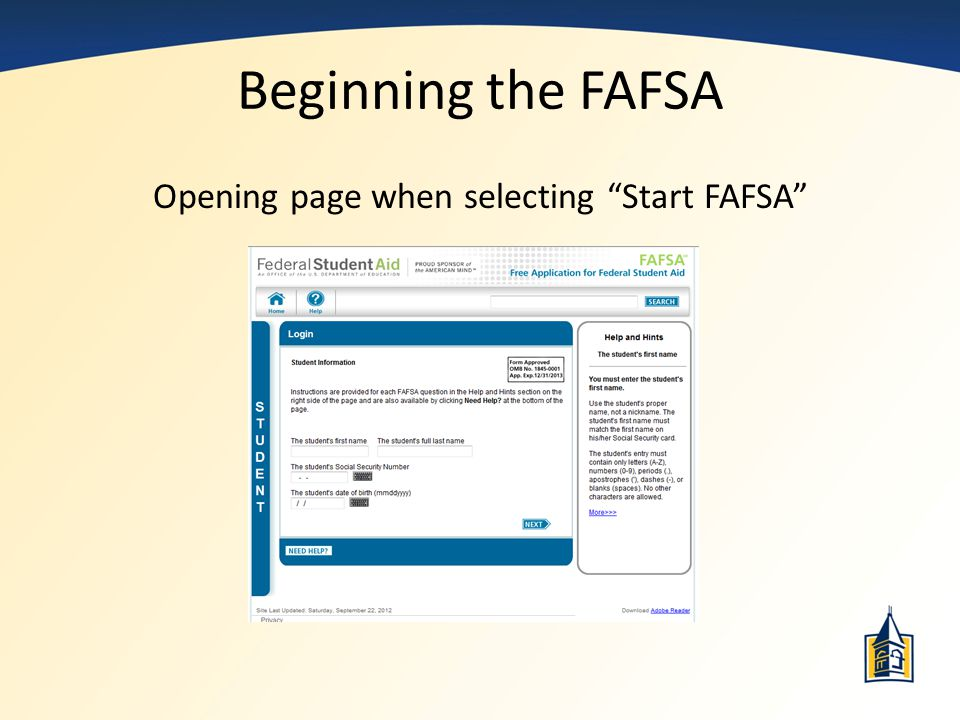 Opening page when selecting Start FAFSA