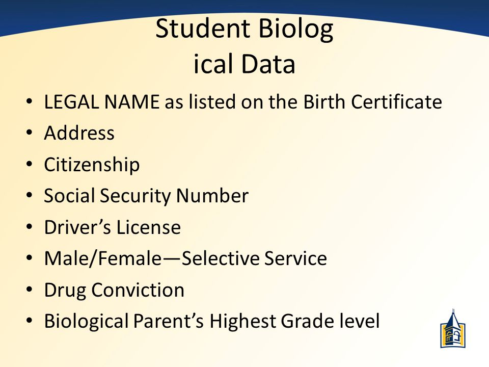 Student Biolog ical Data