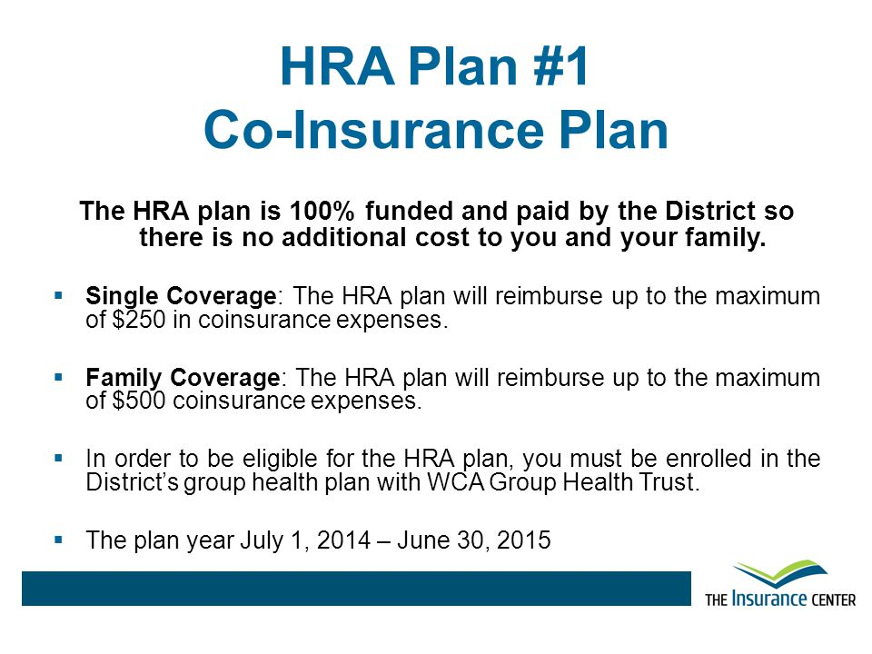 HRA Plan #1 Co-Insurance Plan