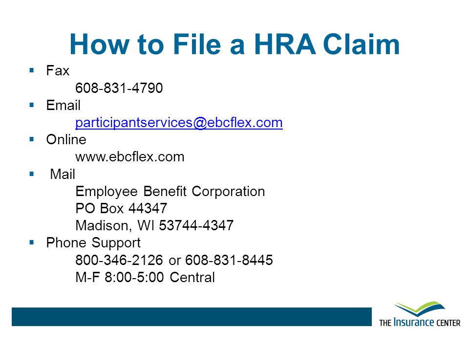 How to File a HRA Claim Fax 608-831-4790 Email