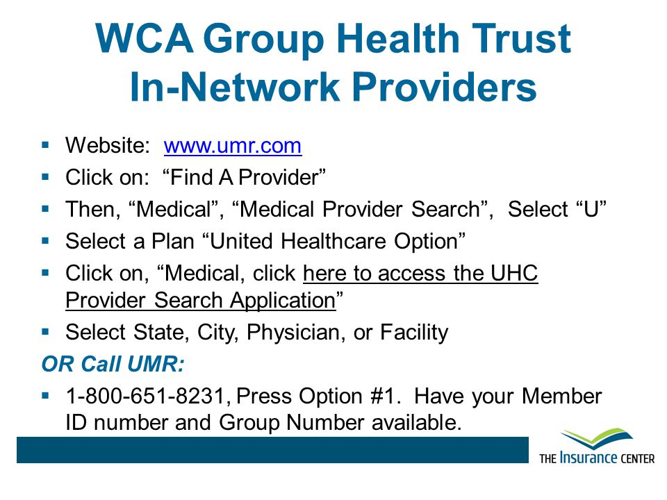 WCA Group Health Trust In-Network Providers