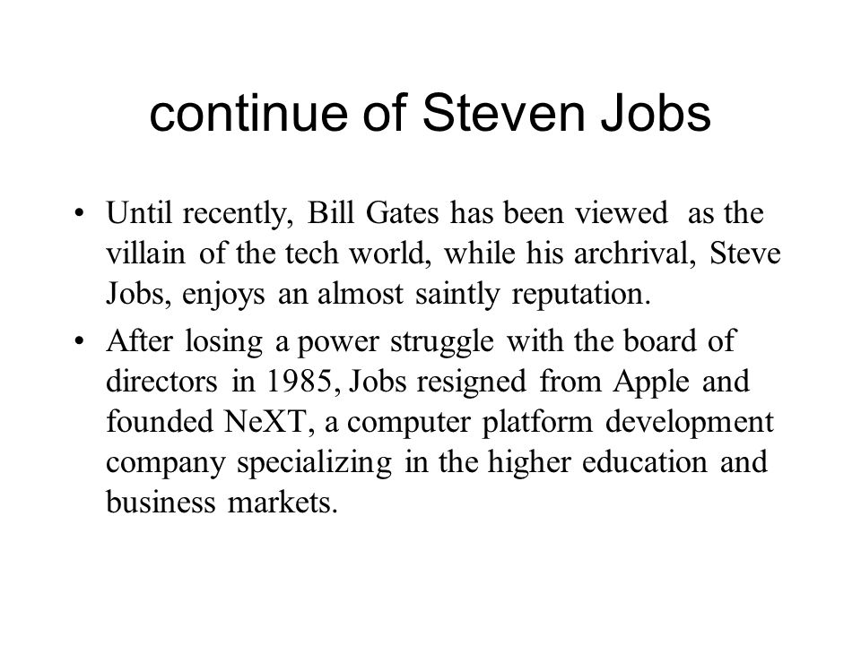 continue of Steven Jobs
