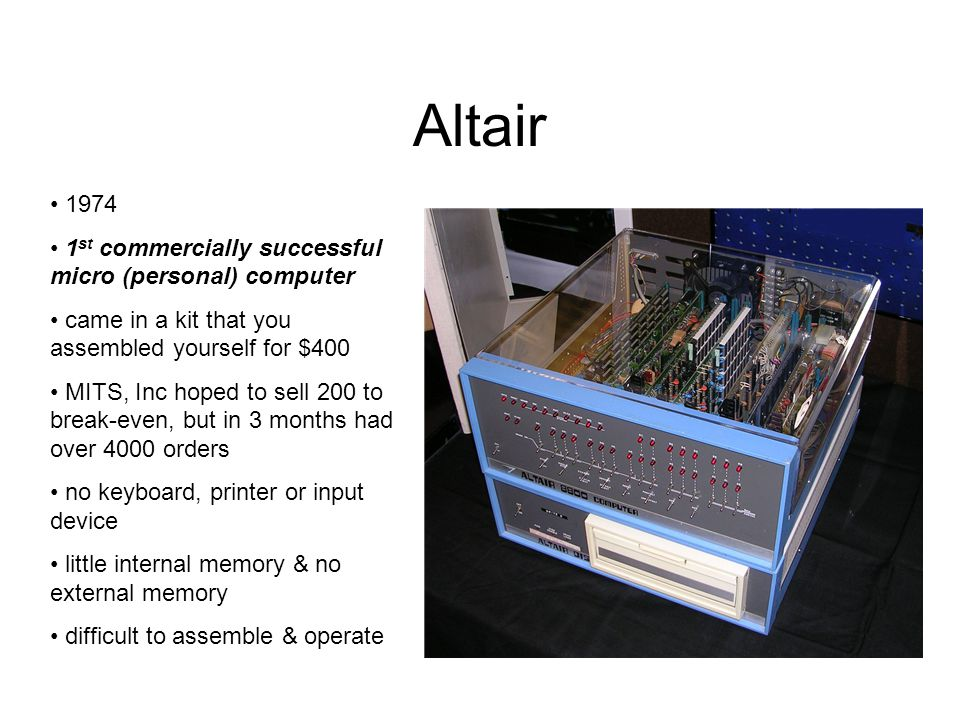 Altair 1974 1st commercially successful micro (personal) computer