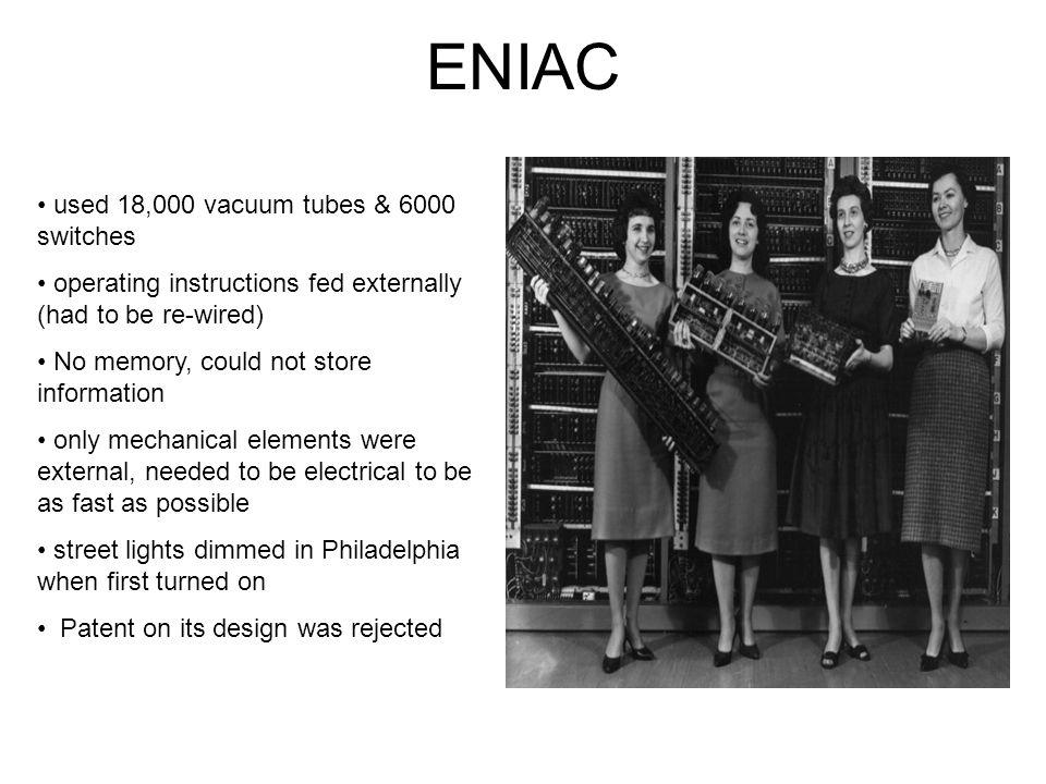 ENIAC used 18,000 vacuum tubes & 6000 switches