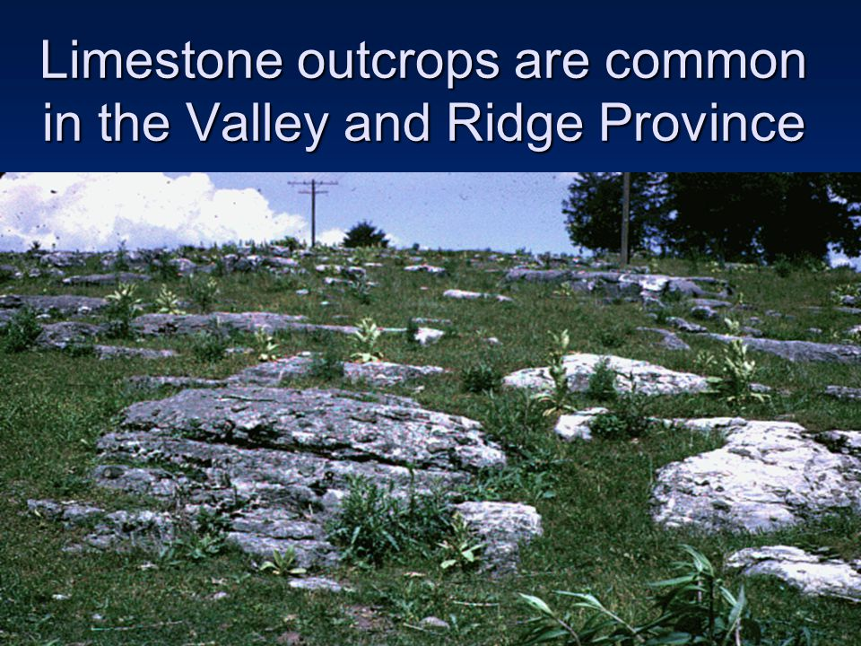 Limestone outcrops are common in the Valley and Ridge Province