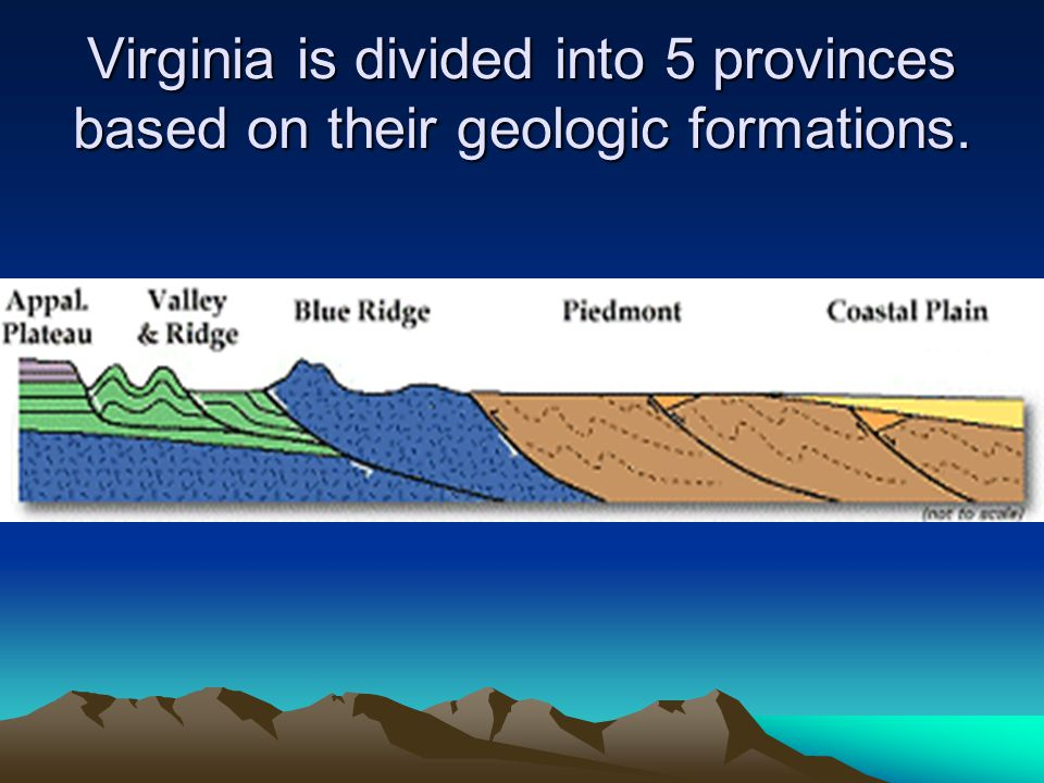 Virginia is divided into 5 provinces based on their geologic formations.