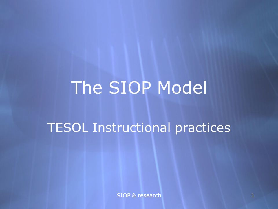 TESOL Instructional practices