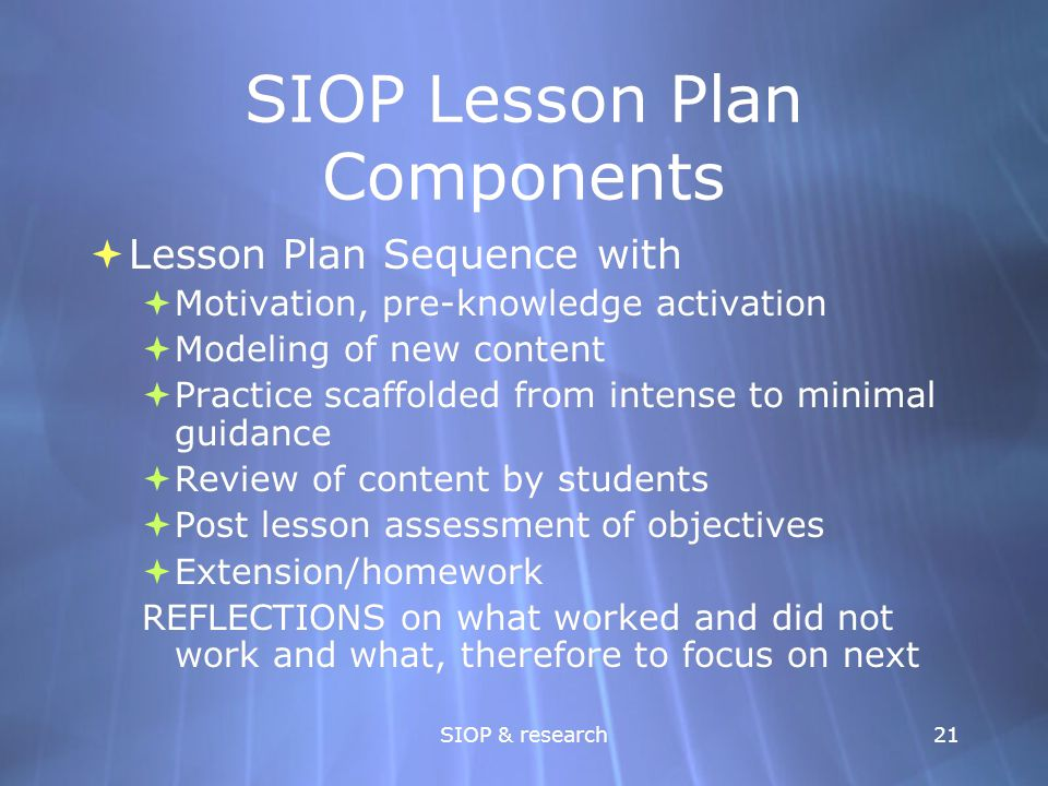 SIOP Lesson Plan Components