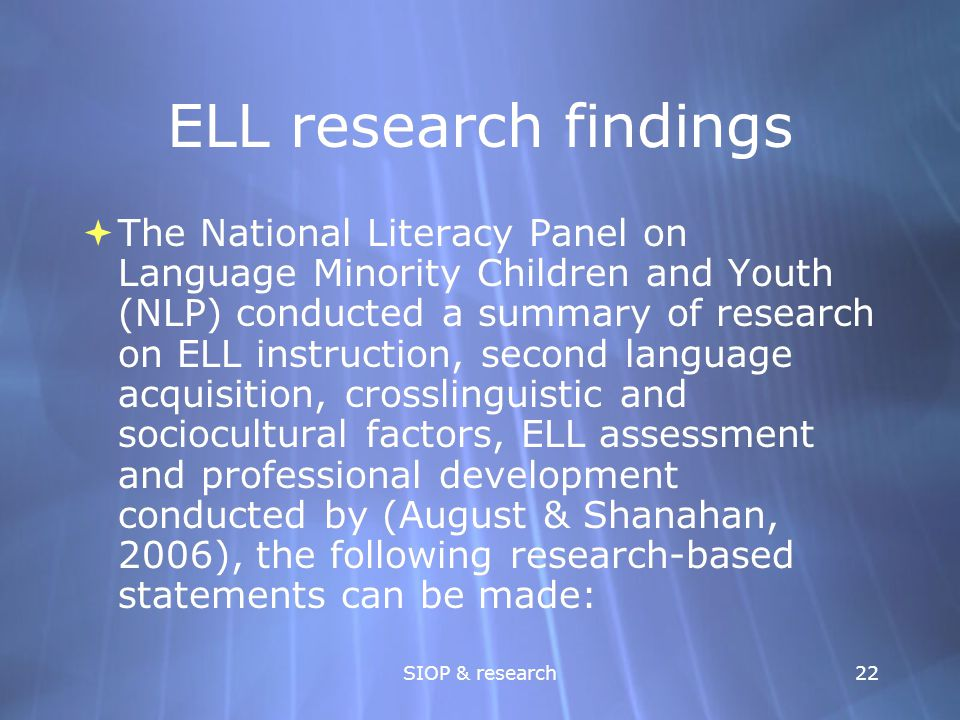 ELL research findings