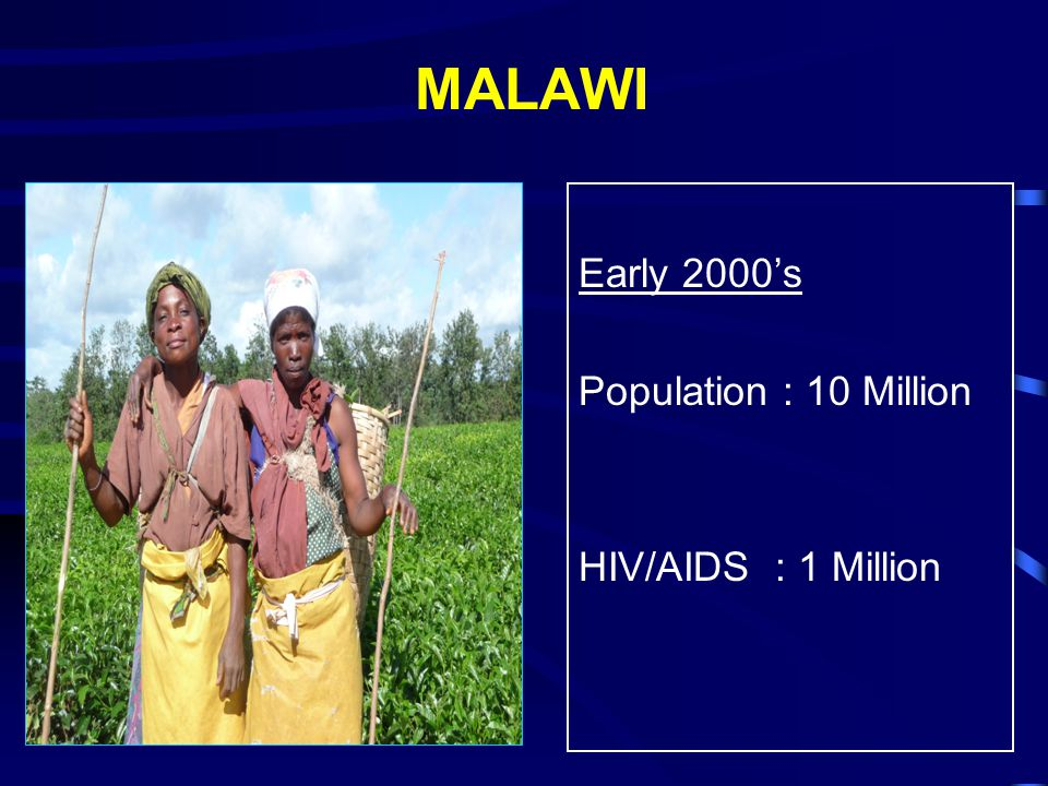 MALAWI Early 2000's Population : 10 Million HIV/AIDS : 1 Million