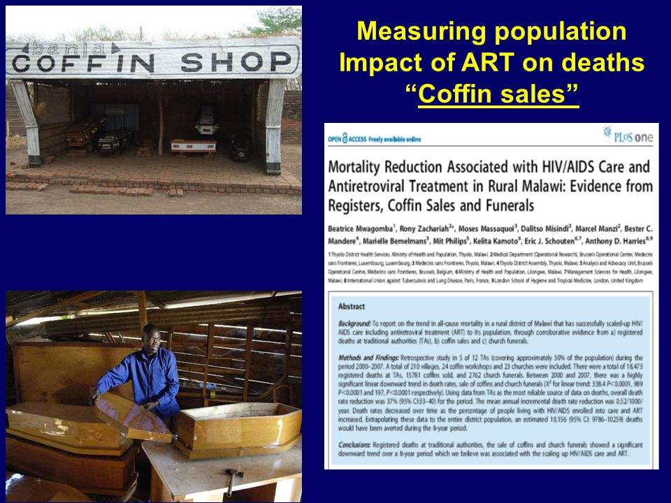 Measuring population Impact of ART on deaths Coffin sales