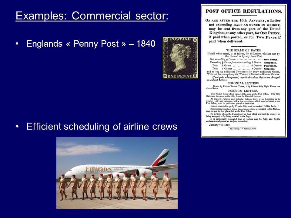Examples: Commercial sector: