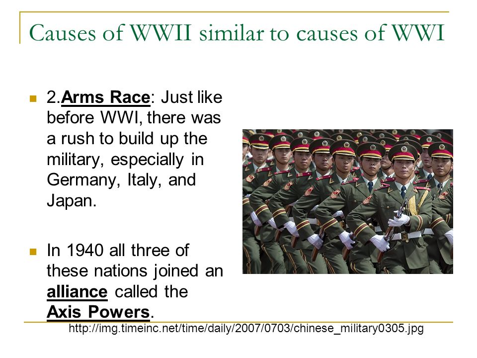 Causes of WWII similar to causes of WWI