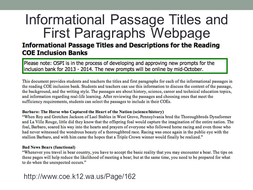 Informational Passage Titles and First Paragraphs Webpage
