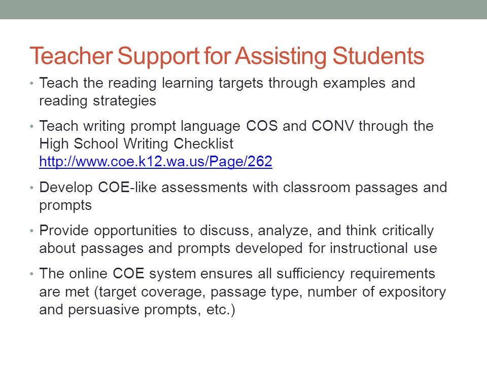 Teacher Support for Assisting Students