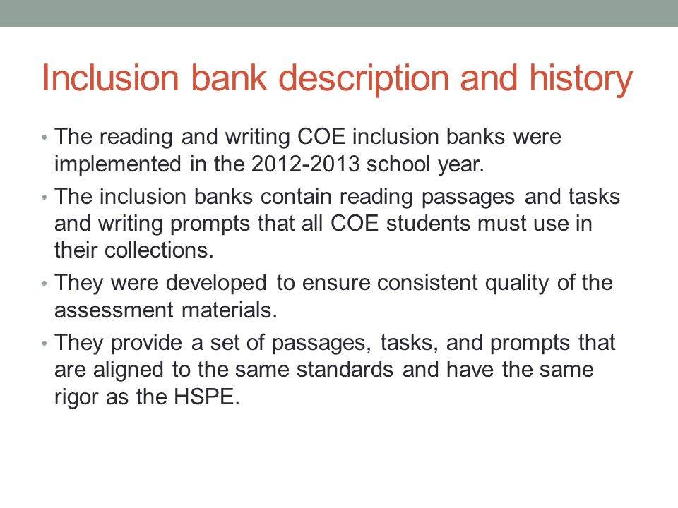 Inclusion bank description and history