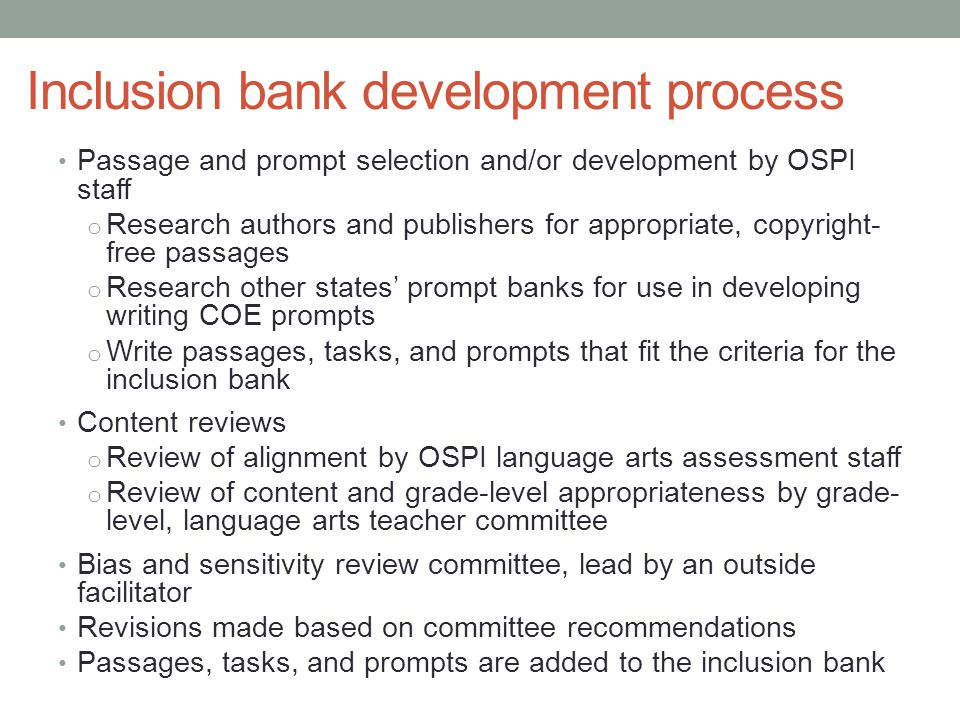 Inclusion bank development process
