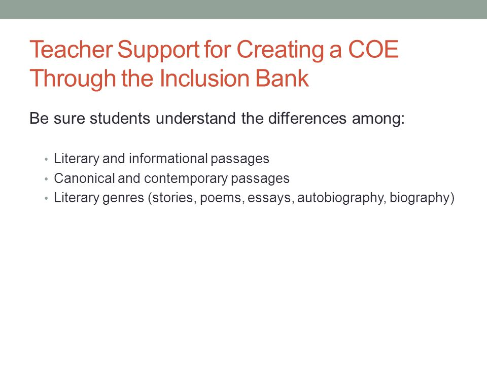 Teacher Support for Creating a COE Through the Inclusion Bank