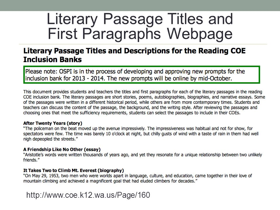 Literary Passage Titles and First Paragraphs Webpage
