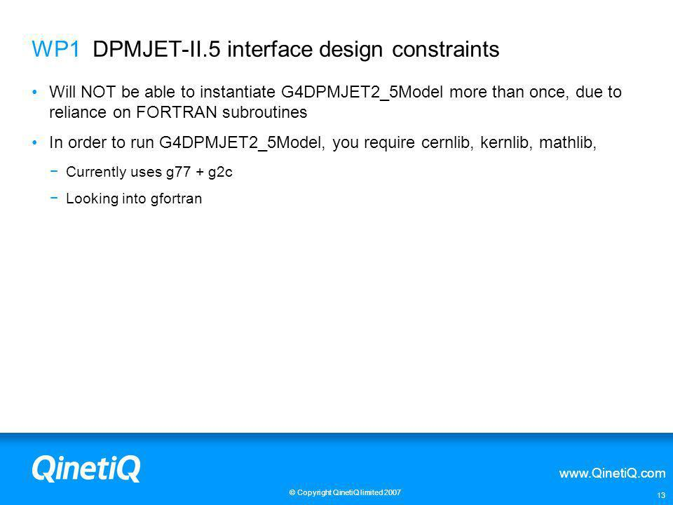 WP1 DPMJET-II.5 interface design constraints