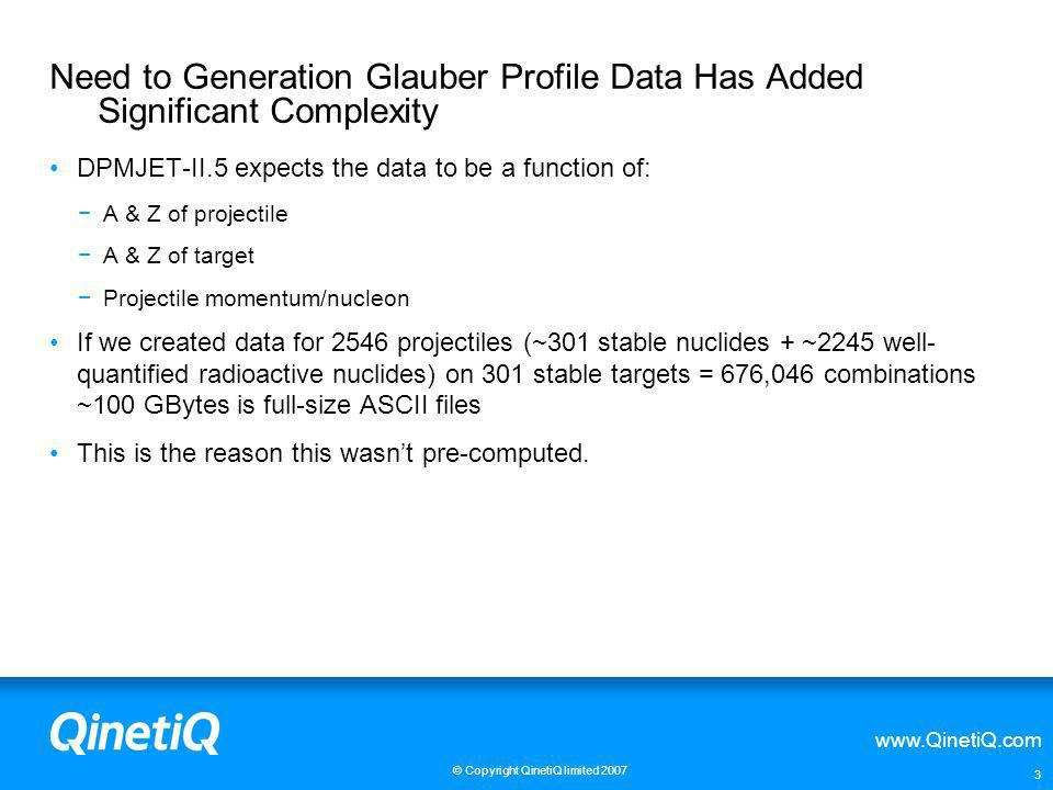 Need to Generation Glauber Profile Data Has Added Significant Complexity