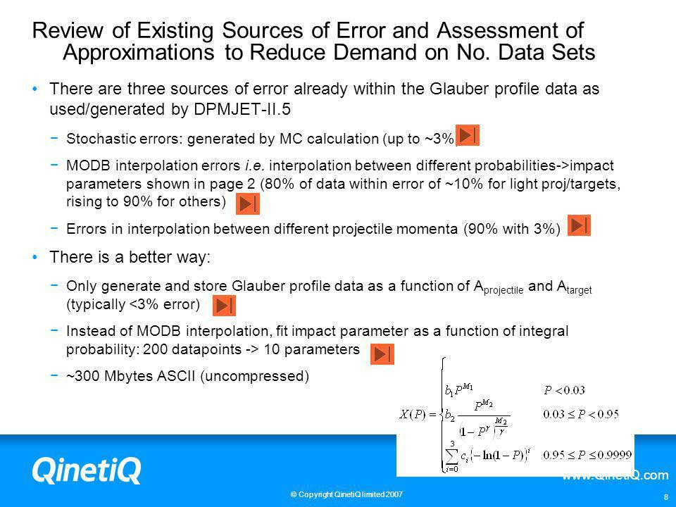 Review of Existing Sources of Error and Assessment of Approximations to Reduce Demand on No. Data Sets