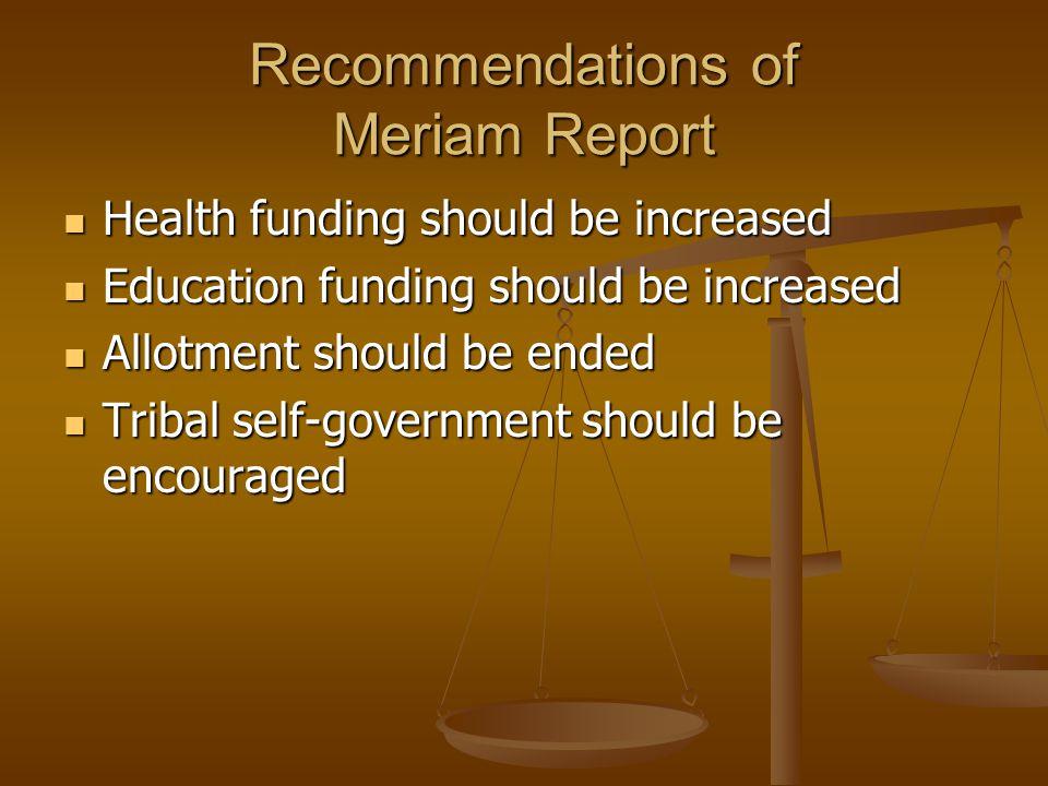 Recommendations of Meriam Report
