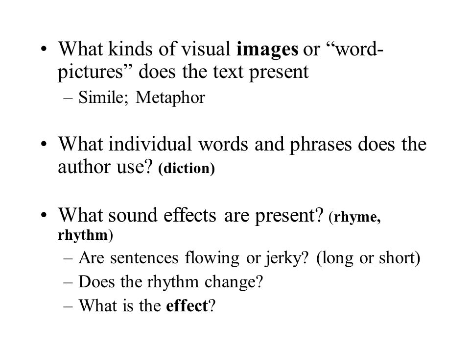 What kinds of visual images or word-pictures does the text present