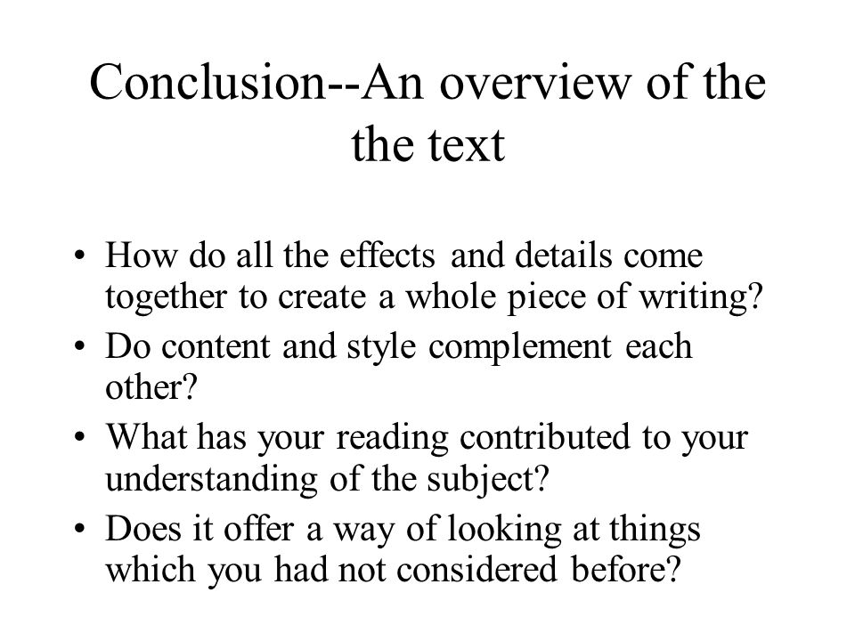 Conclusion--An overview of the the text
