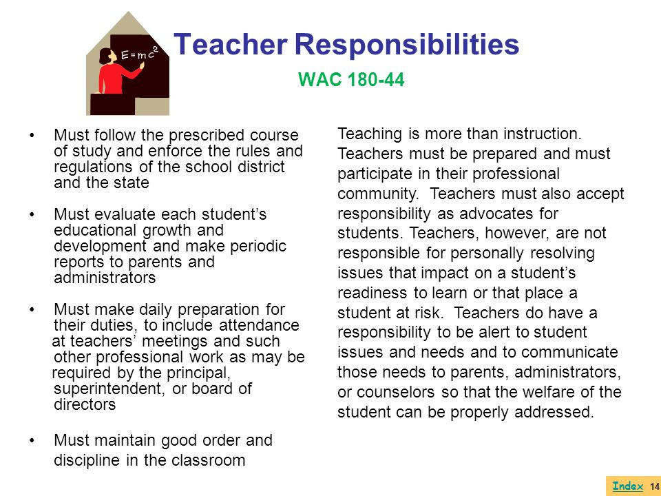 Teacher Responsibilities WAC 180-44