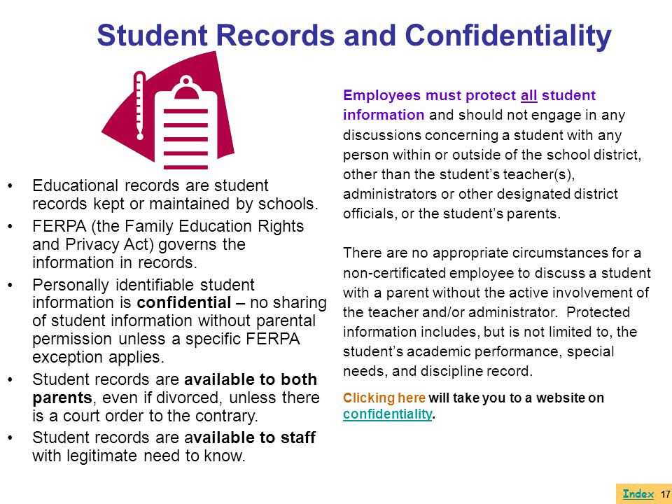 Student Records and Confidentiality